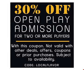 30% off open play admission