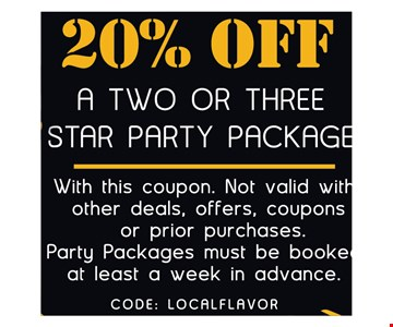 20% off a 2 or 3 star party package