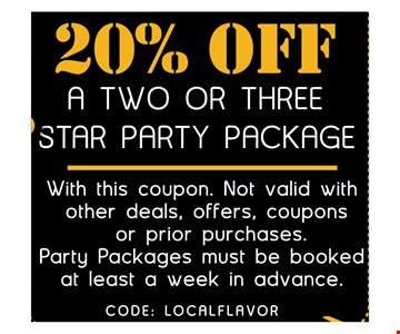 20% off a two or three star party package