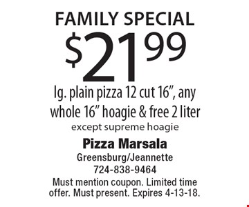Family Special $21.99 lg. plain pizza 12 cut 16