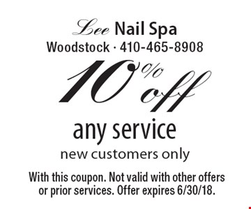 10% off any service, new customers only. With this coupon. Not valid with other offers or prior services. Offer expires 6/30/18.