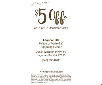 $5 off an 8 or 10 inch decorated cake