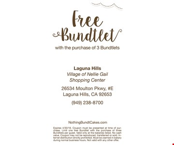 Free bundtlet with the purchase of 3 bundtlets