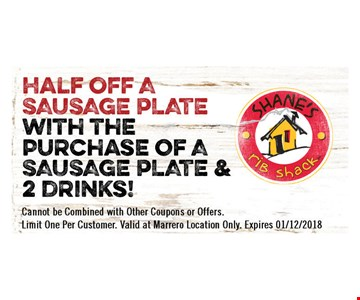 Half off sausage plate with the purchase of a sausage plate and 2 drinks