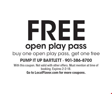 FREE open play pass - buy one open play pass, get one free. With this coupon. Not valid with other offers. Must mention at time of booking. Expires 2-2-18. Go to LocalFlavor.com for more coupons.