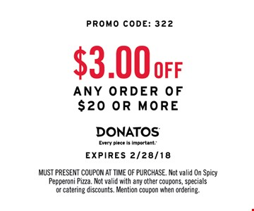 $3.00 OFF any order of $20.00 Or More