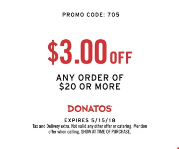 $3.00 OFF ANY ORDER OF $20 OR MORE