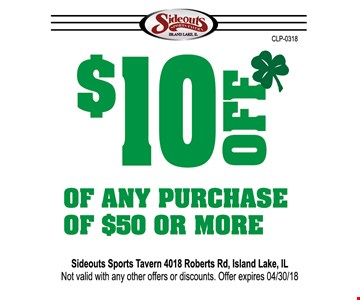 $10 off of any purchase of $50 or more