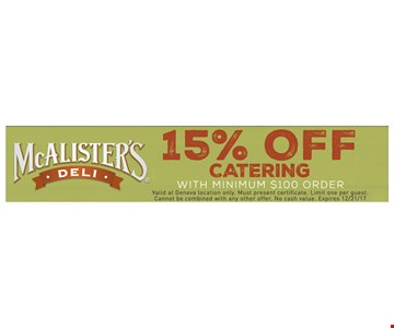 15% off catering with minimum $100 order