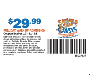 $29.99 for full day, walk up admission