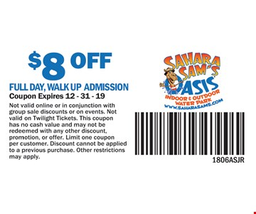 $8 Off Full Day, Walk Up Admission. Coupon Expires 12-31-18. Not valid online or in conjunction with group sale discounts or on events. Not valid on Twilight Tickets. This coupon has no cash valid and may not be redeemed with any other discount, promotion, or offer. Limit one coupon per customer. Discount cannot be applied to a previous purchase. Other restrictions may apply.