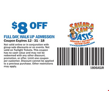 $8 Off full day walk up admission. Not valid online or in conjunction with group sale discounts or on events. Not valid on Twilight Tickets. This coupon has no cash value and may not be redeemed with any other discount, promotion, or offer. limit one coupon per customer. Discount cannot be applied to a previous purchase. Other restrictions may apply. Coupon Expires 12 - 31-18.