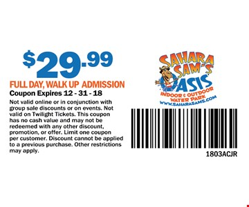 $29.99 full day, walk up admission