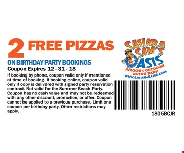 2 FREE Pizzas on Birthday party Bookings
