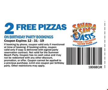 If booking by phone, coupon valid only if mentioned at time of booking. If booking online , coupon valid online copy is delivered with signed party reservation contract. Not valid for the summer beach party. Coupon has no cash value and may not be redeemed with any other discount, promotion, or offer. Coupon cannot be applied to a previous purchase. Limit one coupon per party. Other restrictions may apply .