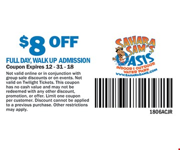 $8 Off Full Day, Walk Up Admission. Coupon expires 12-31-18. Not valid online or in conjunction with group sale discounts or on events. Not valid on Twilight Tickets. This coupon has no cash value and may not be redeemed with any other discount, promotion, or offer. Limit on coupon per customer. Discount cannot be applied to a previous purchase. Other restrictions may apply. 1806ACJR