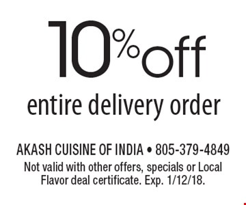10% off entire delivery order. Not valid with other offers, specials or Local Flavor deal certificate. Exp. 1/12/18.