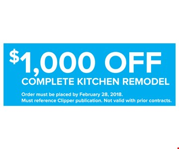 $1,000 Off Complete Kitchen Remodel