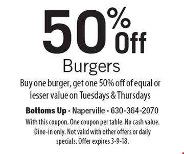 50% Off Burgers. Buy one burger, get one 50% off of equal or lesser value on Tuesdays & Thursdays. With this coupon. One coupon per table. No cash value. Dine-in only. Not valid with other offers or daily specials. Offer expires 3-9-18.