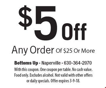 $5 Off Any Order Of $25 Or More. With this coupon. One coupon per table. No cash value. Food only. Excludes alcohol. Not valid with other offers or daily specials. Offer expires 3-9-18.