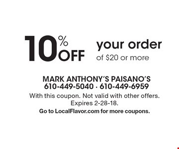 10% Off your order of $20 or more. With this coupon. Not valid with other offers. Expires 2-28-18. Go to LocalFlavor.com for more coupons.