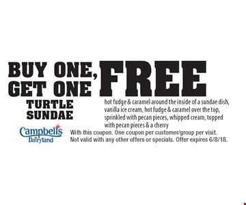 Buy One, Get One Free TURTLE SUNDAE. hot fudge & caramel around the inside of a sundae dish, vanilla ice cream, hot fudge & caramel over the top, sprinkled with pecan pieces, whipped cream, topped with pecan pieces & a cherry. With this coupon. One coupon per customer/group per visit. Not valid with any other offers or specials. Offer expires 6/8/18.