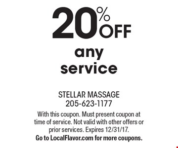 20% off any service. With this coupon. Must present coupon at time of service. Not valid with other offers or prior services. Expires 12/31/17. Go to LocalFlavor.com for more coupons.