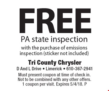 Free PA state inspection with the purchase of emissions inspection (sticker not included). Must present coupon at time of check in. Not to be combined with any other offers. 1 coupon per visit. Expires 5/4/18. P