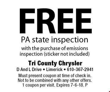 Free PA state inspection with the purchase of emissions inspection (sticker not included). Must present coupon at time of check in. Not to be combined with any other offers. 1 coupon per visit. Expires 7-6-18. P