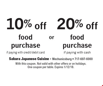 20% off food purchase if paying with cash. 10% off food purchase if paying with credit/debit card. With this coupon. Not valid with other offers or on holidays.One coupon per table. Expires 1/12/18.