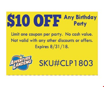 Limit one coupon per person. No cash value. Not valid with any other discounts or offers.