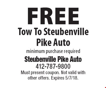 Free Tow To Steubenville Pike Auto minimum purchase required. Must present coupon. Not valid with other offers. Expires 5/7/18.