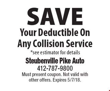 Save Your Deductible On Any Collision Service. *See estimator for details. Must present coupon. Not valid with other offers. Expires 5/7/18.