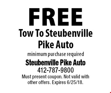 Free Tow To Steubenville Pike Auto minimum purchase required. Must present coupon. Not valid with other offers. Expires 6/25/18.