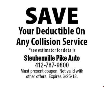 Save Your Deductible On Any Collision Service *see estimator for details. Must present coupon. Not valid with other offers. Expires 6/25/18.