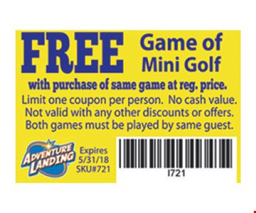 Free game of mini golf with purchase.