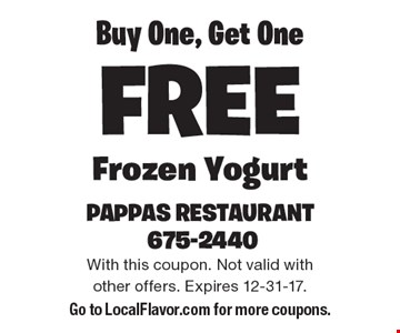 Buy One, Get One Free Frozen Yogurt. With this coupon. Not valid with other offers. Expires 12-31-17. Go to LocalFlavor.com for more coupons.