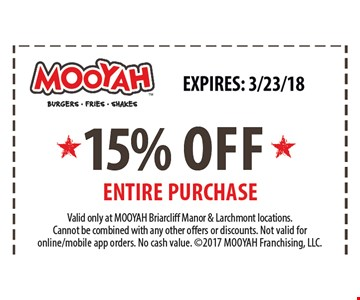 15% off entire purchase
