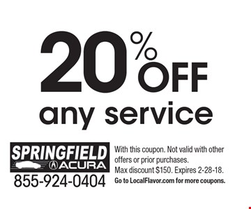 20%OFF any service. With this coupon. Not valid with other  offers or prior purchases. Max discount $150. Expires 2-28-18.Go to LocalFlavor.com for more coupons.