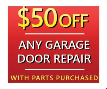 $50 off any garage door repair