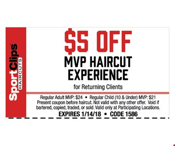 $5 off MVP Haircut Experience