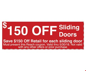 $150 off sliding doors