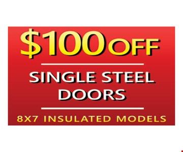 $100 Off Single Steel Doors