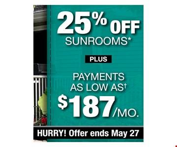 25% off sunrooms