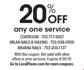 20% OFF any one service. With this coupon. Not valid with other offers or prior services. Expires 4/30/18. Go to LocalFlavor.com for more coupons.