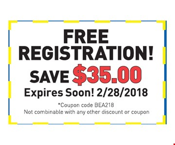 free registration!save $35expires soon! 2/28/2018coupon code BEA218Not combinable with any other discount or coupon