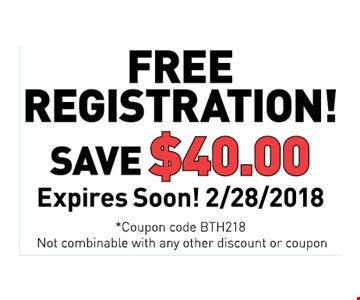 Free registration! Save $40. Expires soon! 2/28/2018. Coupon code BTH218. Not combinable with any other discount or coupon.