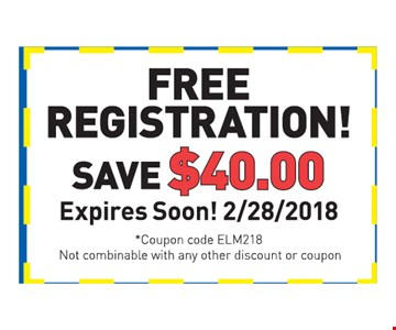 free registration! save $40 expires soon! 2/28/2018 coupon code ELM218 Not combinable with any other discount or coupon