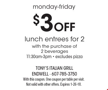 monday-friday $3 Off lunch entrees for 2with the purchase of2 beverages11:30am-3pm - excludes pizza. With this coupon. One coupon per table per visit. Not valid with other offers. Expires 1-26-18.