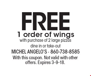Free 1 order of wings with purchase of 2 large pizzas. Dine in or take-out. With this coupon. Not valid with other offers. Expires 3-9-18.